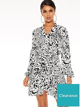 quiz-woven-animal-long-sleeve-shirt-wrap-dress-white