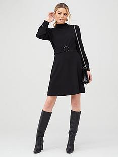 v-by-very-sleeve-detail-belted-skater-dress-black