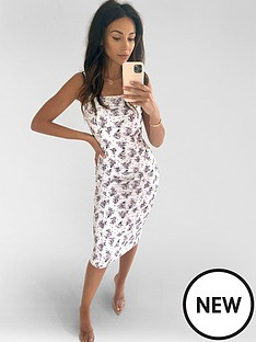 michelle-keegan-ruched-stretch-bodycon-dress-floral-print