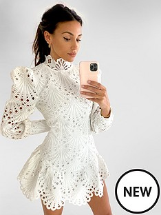 michelle-keegan-premium-high-neck-lace-dress-ivory