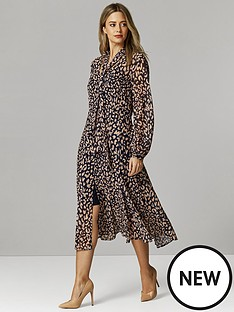 wallis-petite-animal-verona-midi-dress-ink