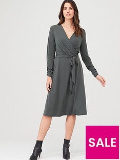 wallis-wrap-fit-amp-flare-dress-khaki