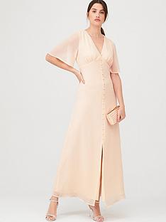 warehouse-angel-sleeve-button-front-maxi-dress-blush