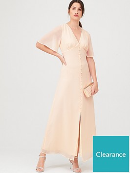 warehouse-angel-sleeve-button-front-maxi-dress-blush
