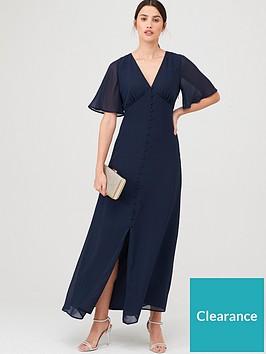 warehouse-angel-sleeve-button-front-maxi-dress-navy