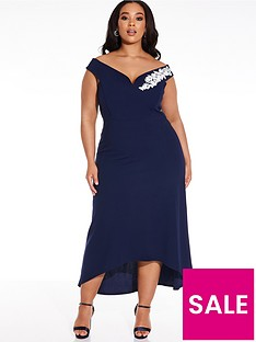 quiz-curve-scuba-crepe-bardot-trim-dip-hem-dress-navy