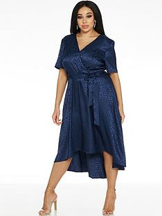 quiz-curve-satin-leopard-dip-hem-dress-navy