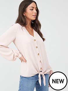 wallis-linen-look-tie-front-shirt-blush