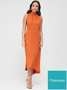 wallis-high-neck-high-low-dress-orange