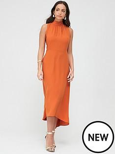 wallis-high-neck-high-low-dress-orange