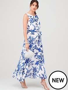 wallis-sprayed-floral-pleat-dress-ivory