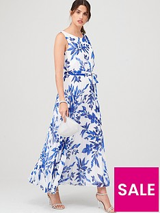 wallis-sprayed-floral-pleat-dress-ivory