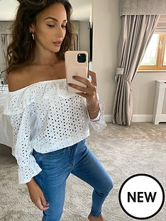 michelle-keegan-broderie-bardot-top-white