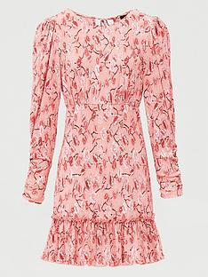v-by-very-floral-ruched-sleeve-mini-dress-pink-print