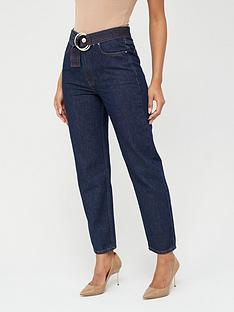 v-by-very-belted-mom-jean-indigo