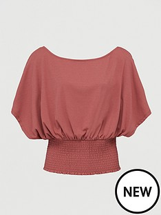 v-by-very-co-ord-shirred-off-the-shoulder-top-pink