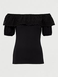 v-by-very-broderie-trim-bardot-top-black
