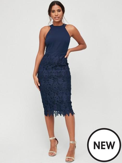 v-by-very-90s-neck-lace-skirt-midi-dress-navy