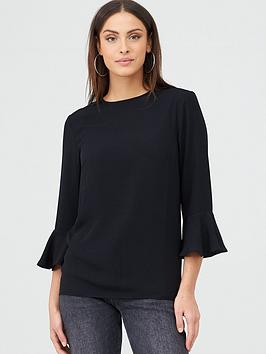 v-by-very-fluted-sleeve-shell-top-black