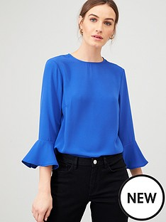 v-by-very-fluted-sleeve-shell-top-blue