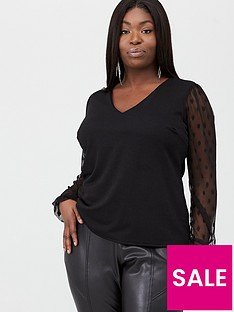 v-by-very-curve-mesh-sleeve-jersey-crepe-top-black