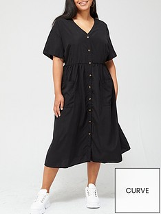 v-by-very-curve-button-through-printed-shirt-dress-black