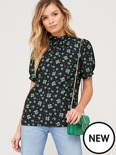 v-by-very-short-sleeve-shell-top-dark-floral