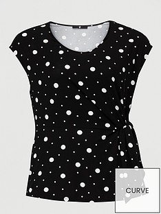v-by-very-curve-knot-detail-sleeveless-top-spot-print