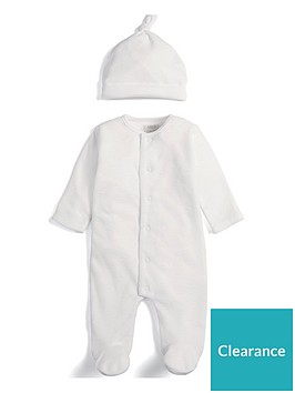 mamas-papas-unisex-cloud-sleepsuit-and-hat-white