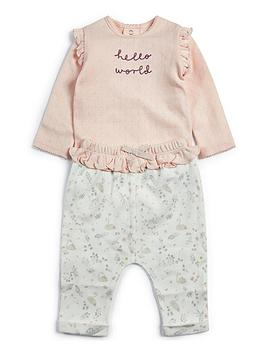 mamas-papas-baby-girls-hello-world-2-piece-jog-set-pink