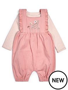 mamas-papas-baby-girls-floral-dungaree-set-pink