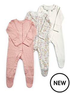 mamas-papas-baby-girls-floral-3-pack-sleepsuit-pink