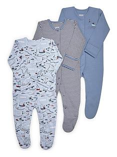 mamas-papas-baby-boys-nautical-3-pack-sleepsuit-blue
