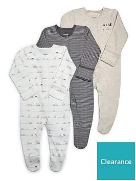 mamas-papas-unisex-3-pack-sleepsuits-sand
