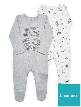 mamas-papas-unisex-2-pack-adventure-sleepsuit-grey