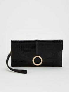 office-bonnie-wristlet-purse-black-croc