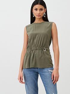boss-casual-silk-sleeveless-waist-top-khakinbsp