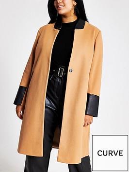 ri-plus-pu-trim-collarless-smart-coat-camel