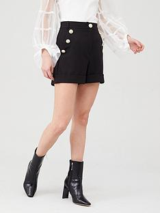 river-island-crested-button-high-rise-shorts-black