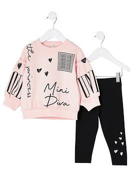 river-island-mini-girls-printed-sweatshirt-and-legging-setnbsp-nbsppinkblack