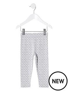 river-island-mini-mini-girls-monogram-leggings-grey