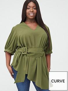 v-by-very-curve-v-neck-asymmetric-belted-blouse-khaki