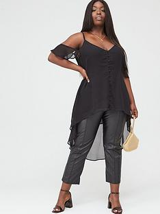 v-by-very-curve-cold-shoulder-waterfall-cami-top-black