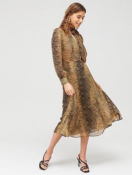 v-by-very-pussybow-printed-midi-dress-animal-print