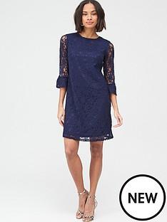 v-by-very-lace-frill-sleeve-dress-blue