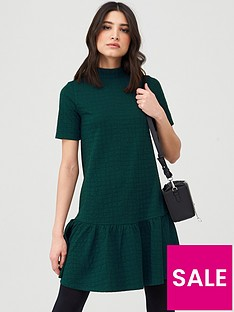 v-by-very-textured-smock-dress-forest-green