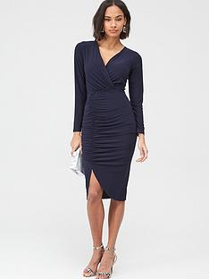 v-by-very-ruched-side-midi-dress-navy