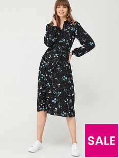 v-by-very-tie-front-midi-shirt-dress-floral
