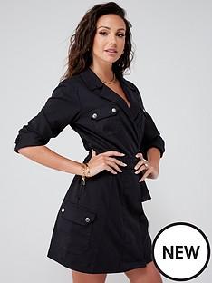 michelle-keegan-minimal-utility-blazer-dress-black