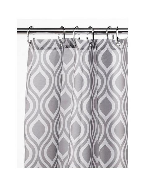 croydex-grey-medallion-shower-curtain